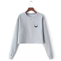 Hot Sale Print Long Sleeve Hoodies Crop Top T-shirts [6395184900]