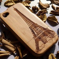 Cool Eiffel Tower Wooden Cover Case For Iphone 4/4s/5