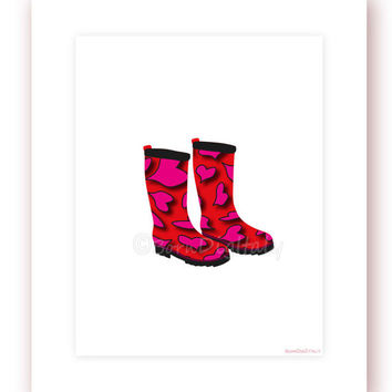 Fashion Poster Rain Boots Digital Print Fashion Printable Girls Wall Decor Room Decor Teen Wall Decor Office Wall Art Fashion Wall Art Print