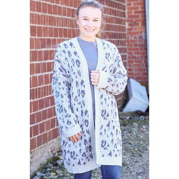 {H. Grey} Tonal Leopard Long Knit Cardigan - Size XL