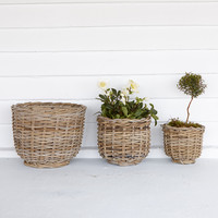 Footed Rattan Urn, 8-13