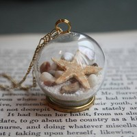 [gryxh31000228]cute glass ball seas and oceans sea star shell necklace