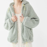 UO Wilma Hooded Zip-Front Teddy Jacket | Urban Outfitters