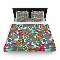 "Julia Grifol ""My Bookbooks Owls On Blue"" Brown Blue Woven Duvet Cover"