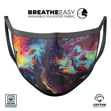 Blurred Abstract Flow V31 - Made in USA Mouth Cover Unisex Anti-Dust Cotton Blend Reusable & Washable Face Mask with Adjustable Sizing for Adult or Child