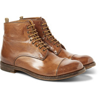 Officine Creative - Polished Lace-Up Leather Boots   MR PORTER