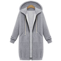 Stylish Patch Pocket Simple Color Drawstring Hooded Coat
