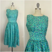 Vintage 1960s- 1970s Handmade Blue Turquoise  Floral Dress