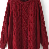 Red Long Sleeve Cable Knit Loose Sweater -SheIn(Sheinside)