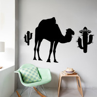 Wall Decals Camel in Desert Cactus Animals Home Vinyl Decal Sticker Kids Nursery Baby Room Decor kk384