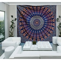 Blue Color Theme Queen Size Mandala Wall Tapestries, Psychedelic Indian Tapestry Bedding, Bohemian Wall Hanging, Floral Print Bed Cover