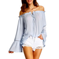 Off  Shoulder Shirt Autunm New Tops Casual Shirts Summer Style Ladies Light Blue Bell Long Sleeve