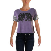 Star Wars Womens Juniors Sequined Trim Graphic Graphic Tee
