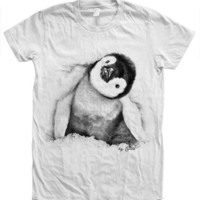 Womens Penguin Tshirt Hand Screen Print American Apparel Crew Neck Available: S, M, L, XL, 2XL 12 Color