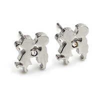Stainless Steel Stud Earrings For Men's , Loving kiss boy and girl romantic earring High Quality free shipping=sp157