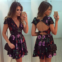 Women Sexy Dress Slim Floral Printed Short Sleeve Sexy Backless Party Bodycon Bandage Dress For Women vestidos CT1688