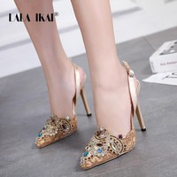 LALA IKAI Wedding Shoes Rhinestone Summer Sexy Women Sandals 12cm High Heels Buckle Strap Pointed Toe Sandalia 014C3421-4