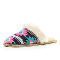BLUE AZTEC KNITTED MULE SLIPPERS