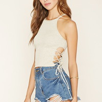 Ribbed Lace-Up Crop Top