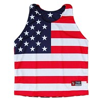 Womens American Flag Racerback Sublimated Lacrosse Pinnie