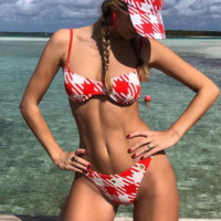 Summer New Fashion Plaid Straps Two Piece Bikini Swimsuit Red
