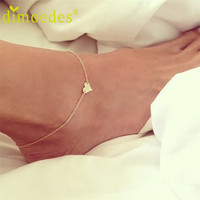 Best Deal Diomedes Sweet Simple Heart Shape Anklet Bracelet Chain Ankel Beach Foot Sandal Diomedes for Women Lady Gift 1PC