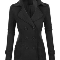 Gorgeous Classic Fully Lined Tapered Double Breasted Pea Coat - Black