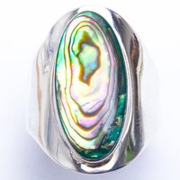 Natural Stimulated Abalone Shell .925 Sterling Silver Ring Sizes 5-11
