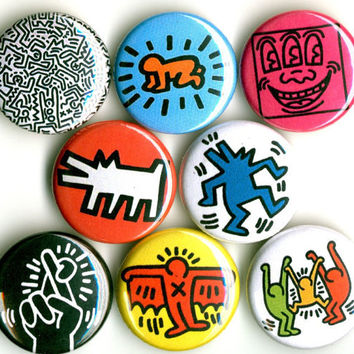 Keith Haring button badge pin set lot collection of 8