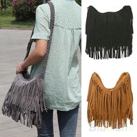 Women Lady Fringe Tassel Suede Shoulder Messenger Cross Body Satchel Bag Handbag, tote, women's fashion = 1652913476
