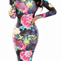 Floral Print Turtleneck Long Sleeve Bodycon Dress