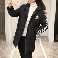 adidas women casual fashion stripe zip cardigan hooded long sleeve middle long section cotton padded clothes coat
