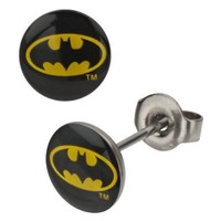 Surgical Steel Batman Logo Stud Earrings