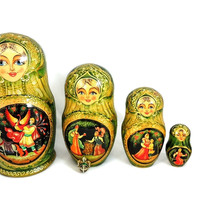 Matryoshka Russian Nesting Dolls FAIRY TALE AND Enamel Egg Pendant