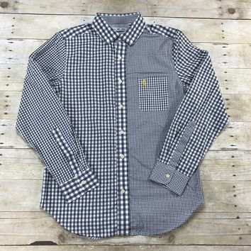 Five Four Mark McNairy Gray Plaids / Check Button Down Shirt Mens Size Medium