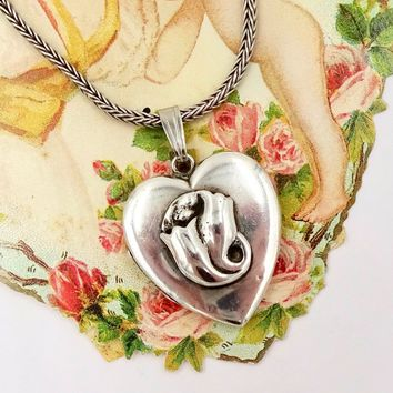 "Vintage STERLING HEART LOCKET Necklace Sterling Silver Heart 2 Photo Locket Pendant 17"" Snake Chain"