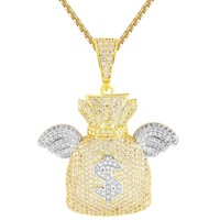 Iced Out 3D Dollar Money Bag with Wings Pendant Chain