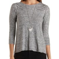 Embellished Sweater Knit Swing Top by Charlotte Russe - Lt Gray