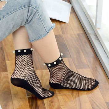 Top Sell Sexy Short Socks Breathable Spring Summer Flat Mesh Socks Fishnet Socks Fashion Women Ruffle Harajuku Mesh Socks