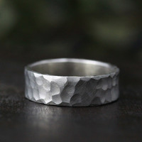 silver rustic carved band 7mm
