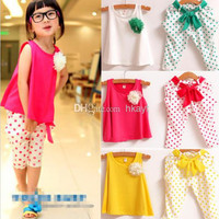 new arrival 2014 baby girl Candy Color Flowers Brooch Sleeveless Tank + Bowknot Dots Haren Pants 2pcs Sparkle Children Girls Sets.