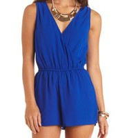 Bow-Back Surplice Chiffon Romper by Charlotte Russe - Bright Cobalt