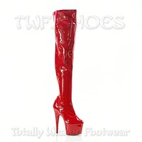 """Adore 3000 Glossy Red Stretch Over The Knee Platform Thigh Boot 7"""" Heels"""