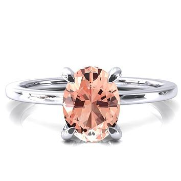 Rosy Oval Champagne Sapphire 4 Claw Prong Single Rail Micropave Engagement Ring