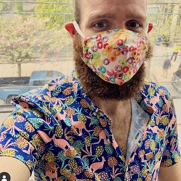 EXTREMELY HIGH DEMAND: Froot Loops Print Protective Face Mask:  Made in USA, Woven Cotton With Filter Inserts