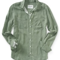 Long Sleeve Solid Twill Button-Front Top