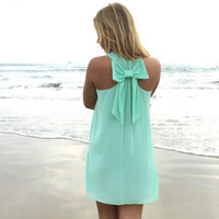 Summer dress 2016 new women casual dress Mint Green chiffon summer style Back Bow dresses