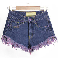 Navy High Waist Fringed Denim Shorts