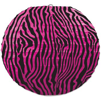 zebra print paper lanterns - cerise & black Case of 6