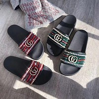 Gucci Print slippers-15